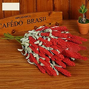 Erovy 12 Heads Artificial Lavender Silk Flower Bouquet Wedding Home Party Decor Decorative Fake Flowers For Decoration [Red] 1