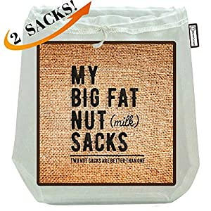 """My Big Fat Nut (milk) Sacks. 2-Pack (12""""x12"""") Commercial Quality Reusable Almond Nut Milk Bag & Strainer. Commercial Food Grade Italian Nylon Mesh Jelly Cheesecloth , Coffee Press Tea Filter Sieve"""