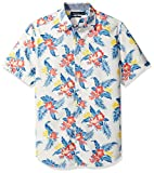 Nautica Men's Short Sleeve Signature Print Button Down Shirt, Mystic Grey, Large