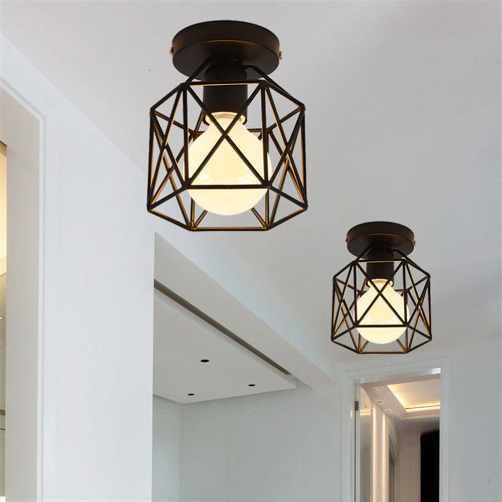 Lámpara de techo empotrable de techo retro 220V, lámpara de techo negra cuadrada de metal envejecido 1-luce, aparato, lámpara de techo (Metal, Negro (Bombilla no incluida) Edhua