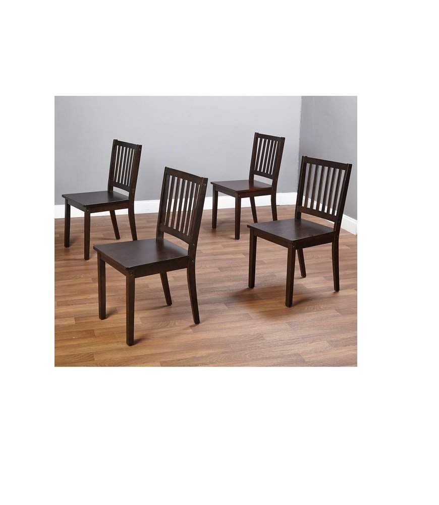 amazoncom simple living slat espresso rubberwood dining chairs set of 4 chairs - Dining Chairs Set Of 4