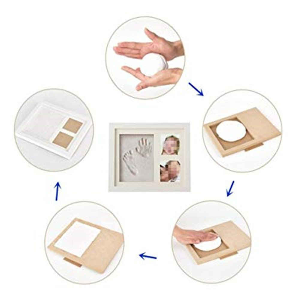 Baby Photo Frame with Handprint & Footprint Kit, Best Gifts for Newborn Girls and Boys Shower Registry Keepsakes(White) by Hathdia (Image #6)