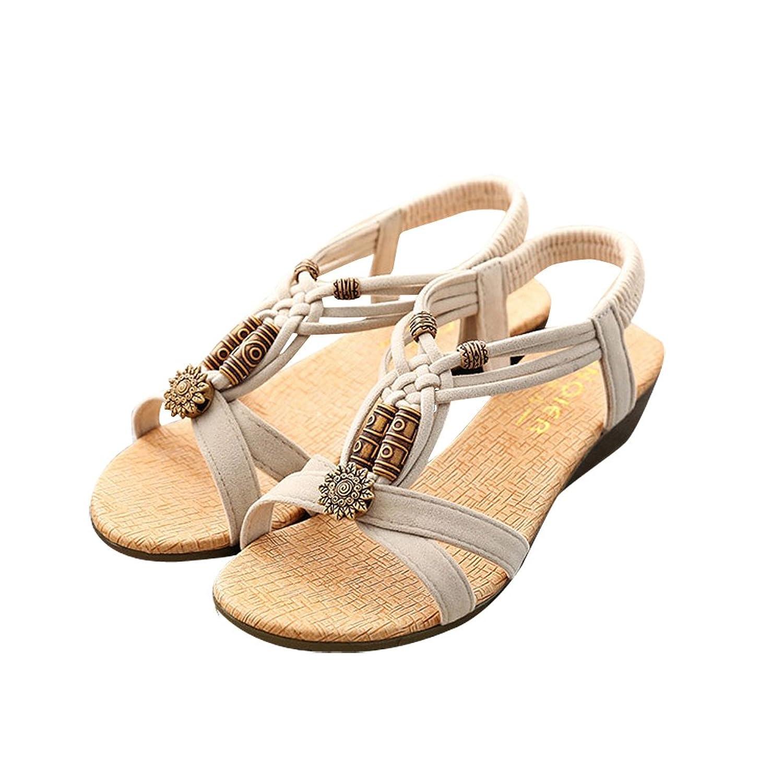 001761416 50%OFF Women s Summer Bohemian Bead Sweet Peep-toe Flat Sandals ...