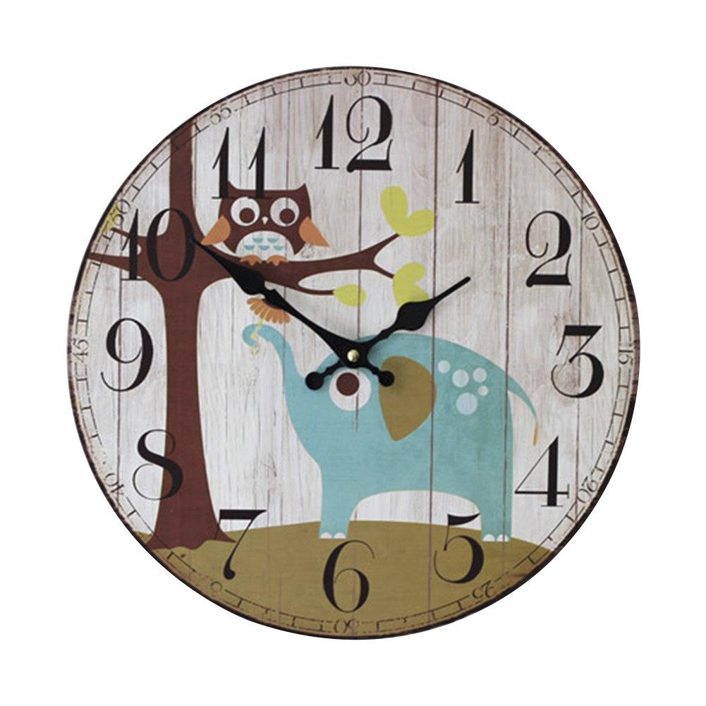 Amazon.de: LOSORN ZPY Kinderzimmer Eule Uhr Analog Vintage Wanduhr ...