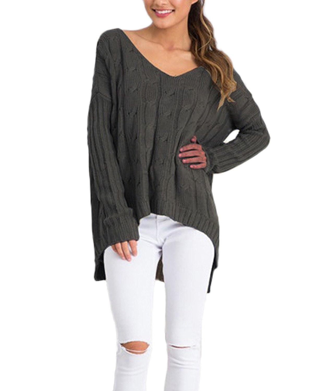 Auxo Women Baggy Long Sleeve Hollow Back V Neck Irregular Kint Pullover Sweater