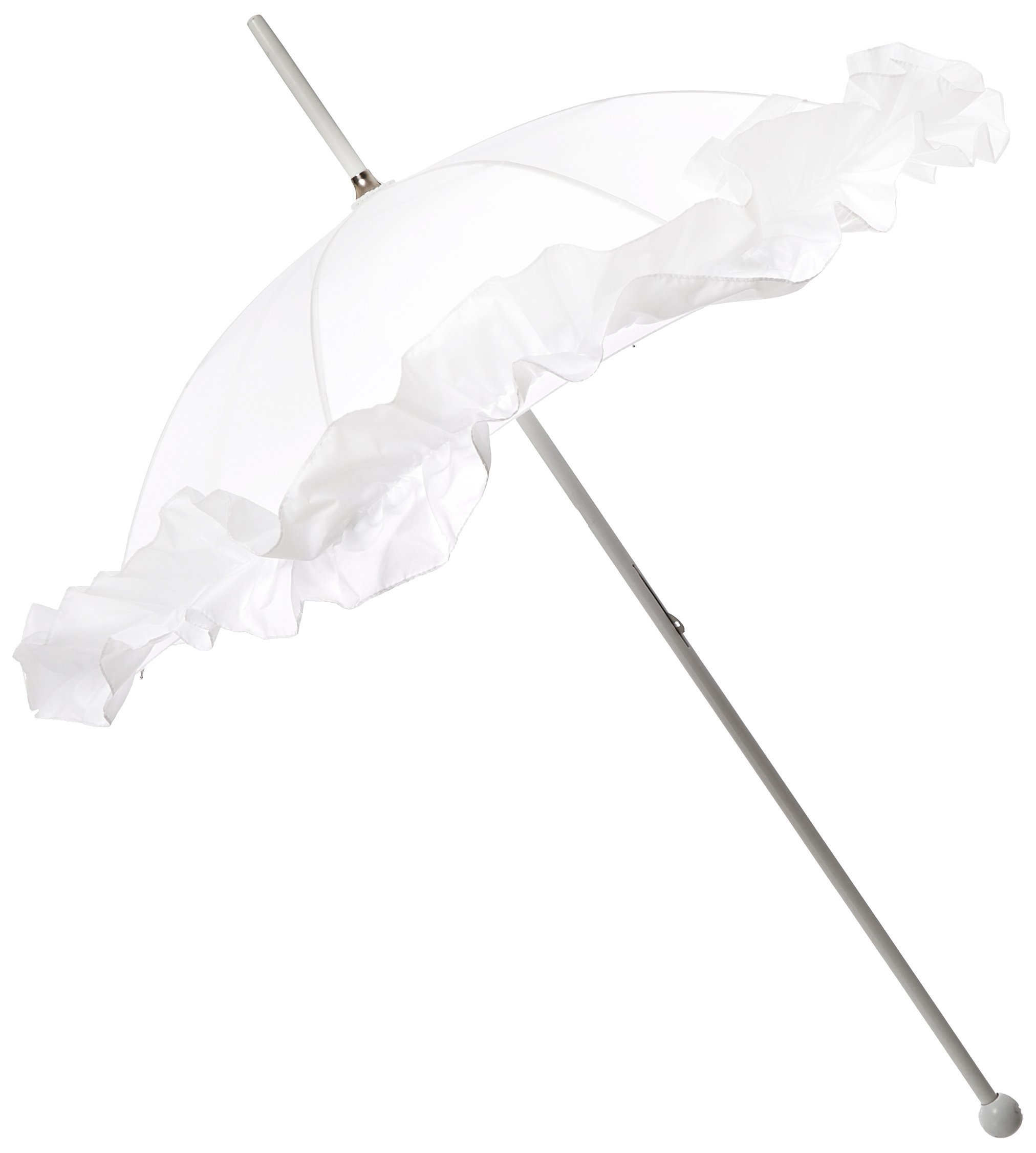 Leighton Wedding Parasol Ruffled, White, One Size