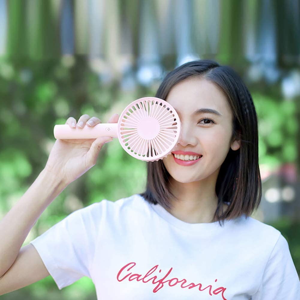 Lovely Cooling Fan Mini Silent Handheld USB Fast Charging Rotary Base Cooling Fan Summer Portable Handheld for Home Office Study Outdoor Travel Pink