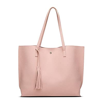 f91d60bd88 Amazon.com  Acereima Women Bags Leather Casual Tassel Handbags Female  Designer Bag Vintage Big Size Tote Shoulder Bag bolsos pink  Shoes