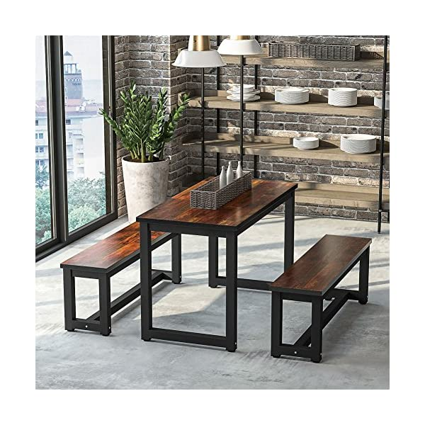 LITTLE TREE Dinning Table Set with Two Benches, 3-Piece Rustic Rectangular Table with Heavy-Duty Metal Base, Super…