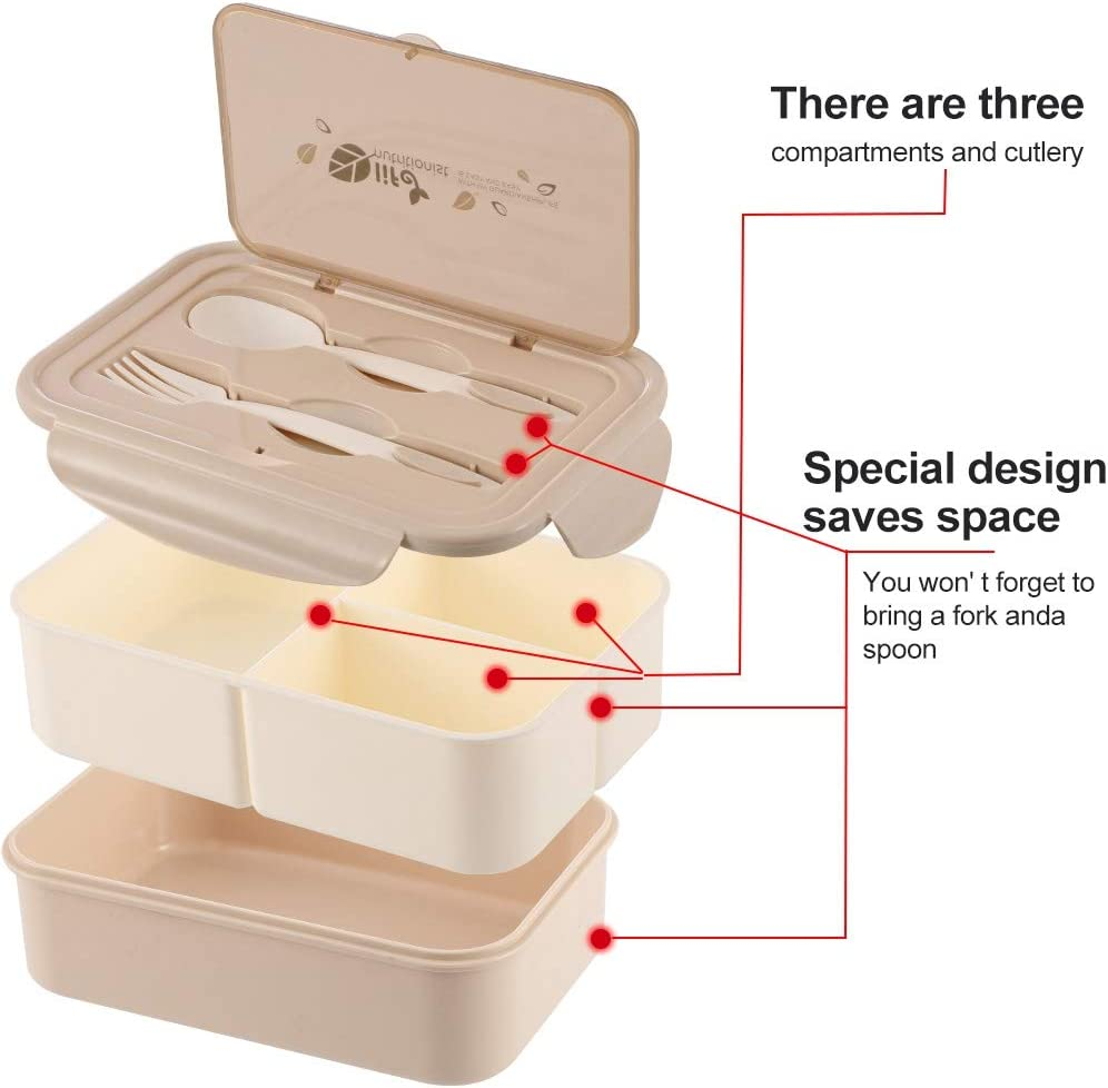 fanshiontide Bento Box for Kid Adult Bento Lunch Box Leakproof Bento Lunch Container with 3 Compartment and Cutlery SetFit for School Travel Office Green