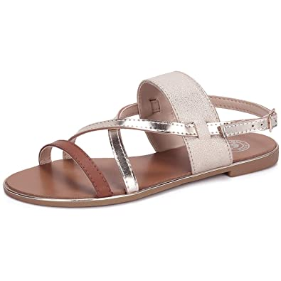 3feb24665 CAMEL CROWN Women s Strappy Flat Sandals with Open Toe Comfortable Gold  Sandals Soft Strap Sandals with