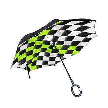da28477bb Amazon.com : MAPOLO Checkered Flag Inverted Double Layer Straight ...