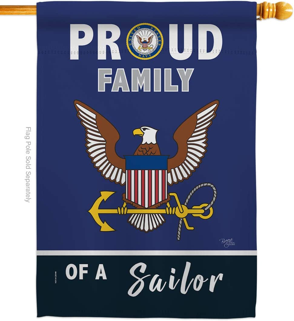 Breeze Decor Proud Family Sailor House Flag Armed Forces Navy USN Seabee United State American Military Veteran Retire Official Decoration Banner Small Garden Yard Gift Double-Sided, Made in USA