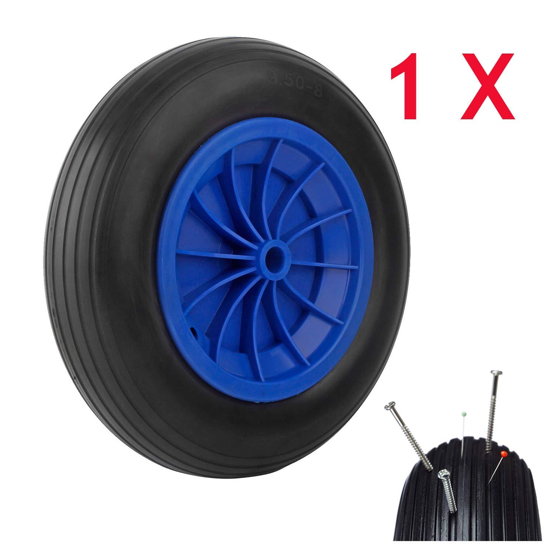 Miafamily PU Rad 3.50-8 Pannensicher Gummirad Vollgummi-Reifen Universal Schubkarren-Reifen Schiebkarre Reifen Ersatzrad 80kg Traglast 356 x 80mm (1 PCS)