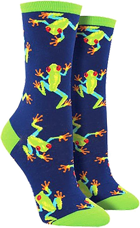 """Socksmith Womens' Novelty Crew Socks """"Tree Frogs"""" - Navy, Sock size 9-11"""