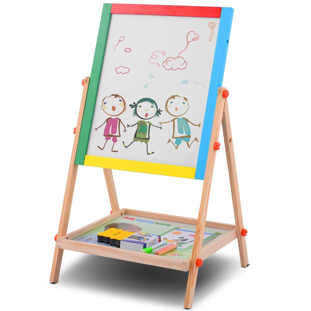 Costzon 2 In 1 Kids Easel, Double Sided Adjustable Chalk Blackboard & White Dry Erase Surface, Magnetic Sponge, Marker Pen, 12 PCS Chalks & Bottom Tray, Wood Standing Easel for Toddlers