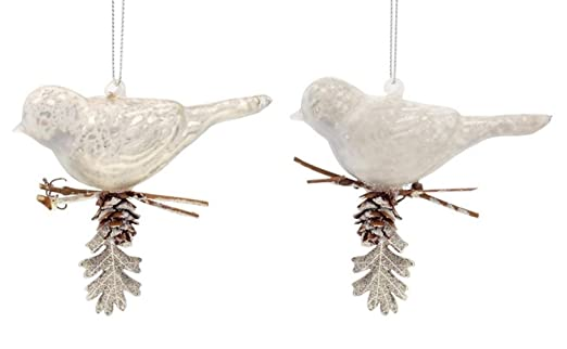 Christmas Tablescape Decor - Shiny and matte white mercury glass perched bird Christmas ornaments - Set of 12