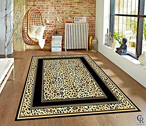 - Champion Rugs Modern Leopard Skin Animal Print with Border African Theme Novelty Area Rug (2' X 3