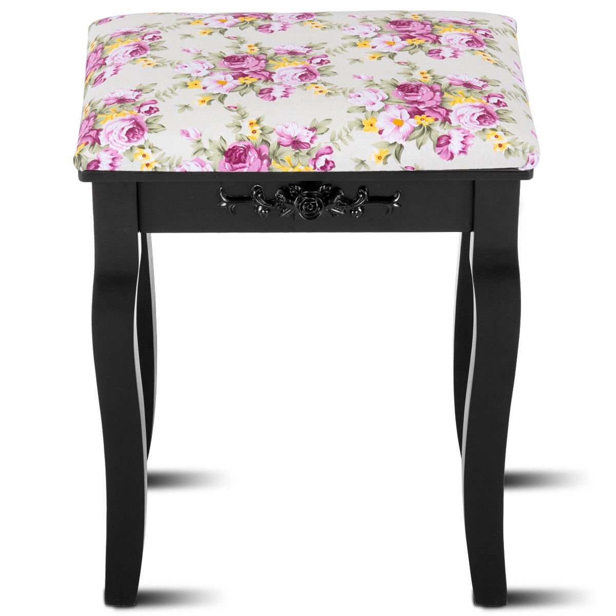 Globe House Products GHP 250-Lbs Capacity Black Pine Wood & MDF Panel Padded Cushion Dressing Stool
