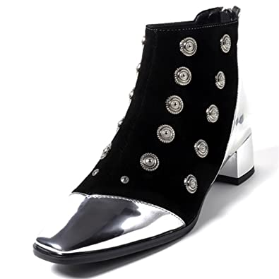 Nine Seven Suede Leather Women's Square Toe Chunky Heel Zip Handmade Studded With Rivets Ankle Boots by Nine Seven