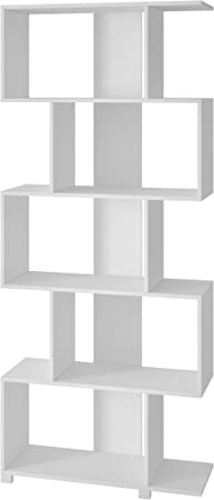 Buyqualia Estantería libreria Decorativa Multiusos con Cinco Niveles para organización con Forma de zig-Zag. (Blanco): Amazon.es: Hogar