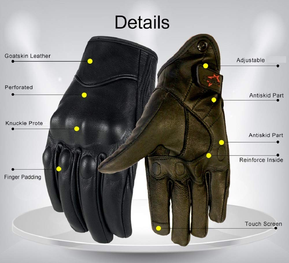 Non-Perforated,S Full Finger Leather Motorcycle Motorbike Gloves Men/'s Touchscreen Hard Knuckle Armored Motorbike Gloves