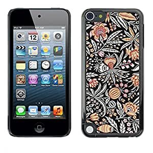 rígido protector delgado Shell Prima Delgada Casa Carcasa Funda Case Bandera Cover Armor para Apple iPod Touch 5 /Drawn Pattern Flower Black Paint/ STRONG