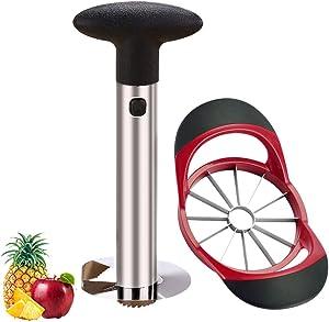 2 Pack Apple Pineapple Slicer Corer Set, Stainless Steel 12-Blade Large Apple Cutter Divider And Pineapple Peeler Corer Slicer Tool