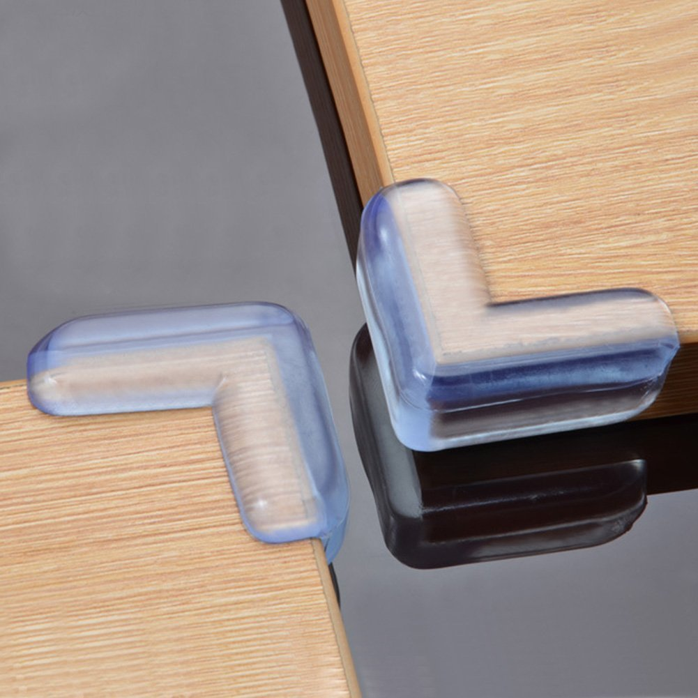 Zehaer 4 Pcs Transparent Safety Soft Plastic Table Desk Corner Guard Protector (Transparent)