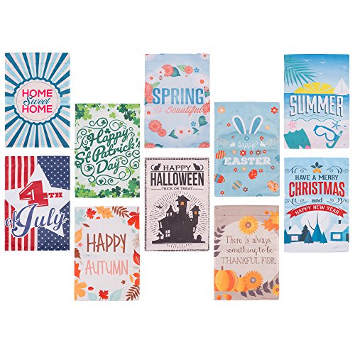 Seasonal Garden Flags - Set of 10, Assortment of Holidays, 12 x 18, Double Sided, Outdoor, Yard, (Spirit Halloween Opening Day)