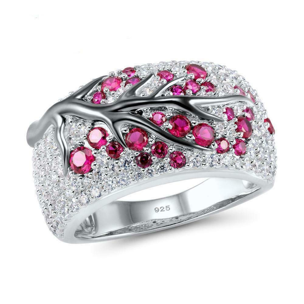 Jindamanee Shop 925 Silver Ruby White Topaz Women Plum Branch Ring Party Jewelry Gift Size 6-10 10