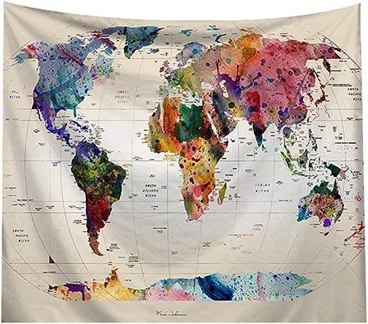 AidShunn Tapiz Mapa del Mundo Colgar en la Pared Manta de Fondo ...