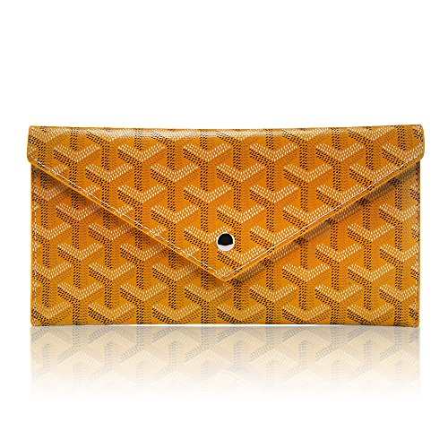 Stylesty Leather Envelope Wallet for women, Fashion Small Clutch Purse Evening Bag (yellow) Yellow Flat Wallet