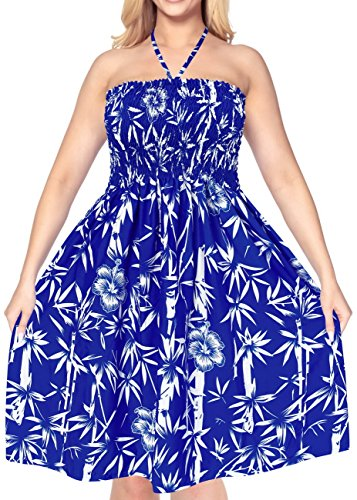 LA LEELA Soft  Printed Tube Halter Tube Dresses Lounge Royal Blue 1668 One Size