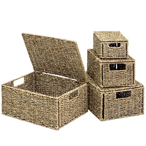 (Best Choice Products Set of 4 Multi-Purpose Woven Seagrass Storage Box Baskets for Home Decor, Organization - Natural)