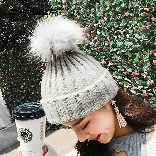 Engrosamiento Mujer Y Bola De Negro Linda color Sombrero Cómoda Cálida Tamaño Libre Free Gorra Al Aire Para Invierno Tejido Pink Nuevo Lana qZwIPEg