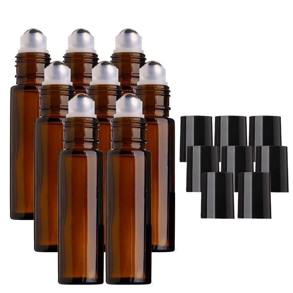 MINGZE 8 Stück 10ml Glasflaschen Glasroller für ätherische Öle Braunglasflaschen, Bernstein Glas Rolle Flaschen mit Edelstahl Metall Ball, Wesentlich Öl Weiterrollen Flasche für ätherisches Öl, Aromatherapie Parfum, Roller Ball Flasche für Flüssigkeit