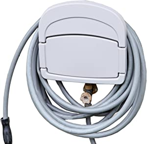"""Home-X Wall Mount Hose Holder, Includes a Compartment for Storing Hose Attachments, Grey (14""""L x 12.5""""H x 6""""W)"""