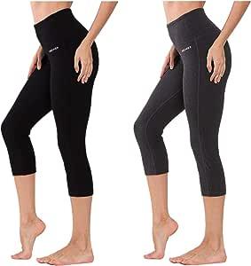 Ogeenier - Womens High Waist Capri Leggings Yoga Pants, Tummy Control Capri Pants with Waistband Pocket Workout Legging
