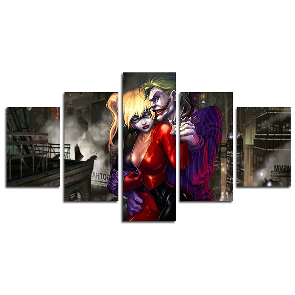 AtfArt 5 Piece Dark Knight Joker and Harley Quinn movie canvas painting for living room home decor Canvas art wall poster (No Frame) Unframed HB31 50 inch x30 inch