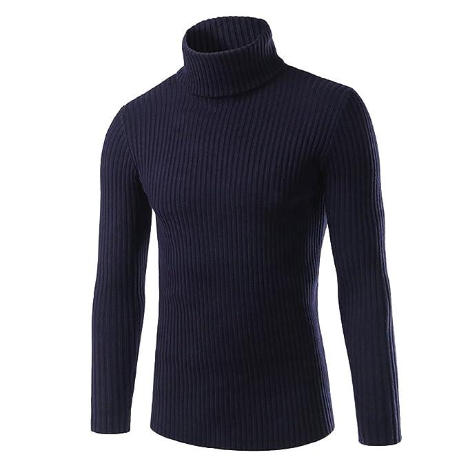 Suéter para Hombre Jersey De Punto Cuello Alto Delgado Manga Largo Sudaderas: Amazon.es: Ropa y accesorios