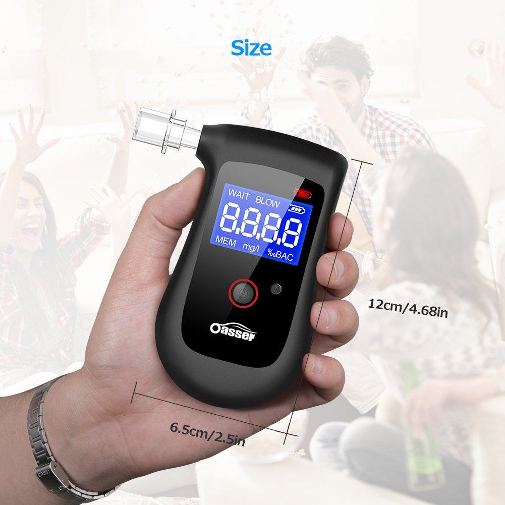 Oasser testeur dalcool Alcootest Semiconductor Professional Digital /écran LCD Batterie int/égr/ée Batterie au Lithium 4/Embouts Inclus Approuv/é par la FDA