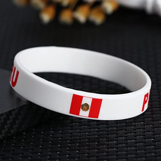Amazon.com : TDoperator PERU Flag Silicone Bracelet FIFA World Cup 2018 For Soccer Fan Unisex Design Soft and Durable Wristband for National Football ...