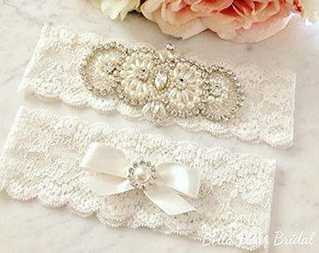 9eb81fd00 Image Unavailable. Image not available for. Color  Ivory Lace Wedding Garter
