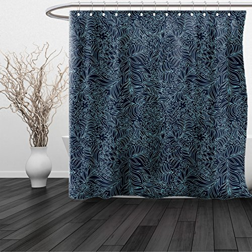 Tetris Costume Halloween (HAIXIA Shower Curtain Navy and Teal Abstract Artistic Flourish Nature Inspired Pattern Leaves Blossoms Dark Blue Turquoise)