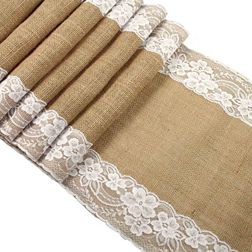 CCTRO Burlap Lace Hessian Table Runner, Rustic Natural Jute Country Wedding Party Bridal Shower Babe Shower Dining Table Decoration 12x108 inches (Burlap Table)