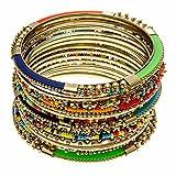 PammyJ Stackable Bangle Bracelet Set - 15 Pieces Multi Color - Bohemian Gypsy Jewelry