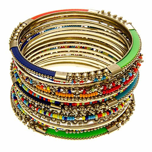 Bangle Stackable (Stackable Bangle Bracelet Set - 15 Pieces Multi Color - Bohemian Gypsy Jewelry PammyJ)