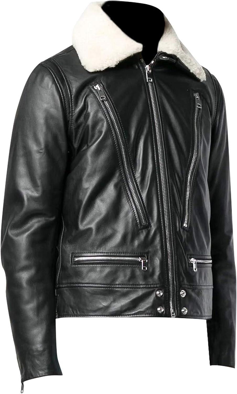 Prime-Fashion Shearling Zipper Sheepskin Black Leather Slim Biker Jacket for Men