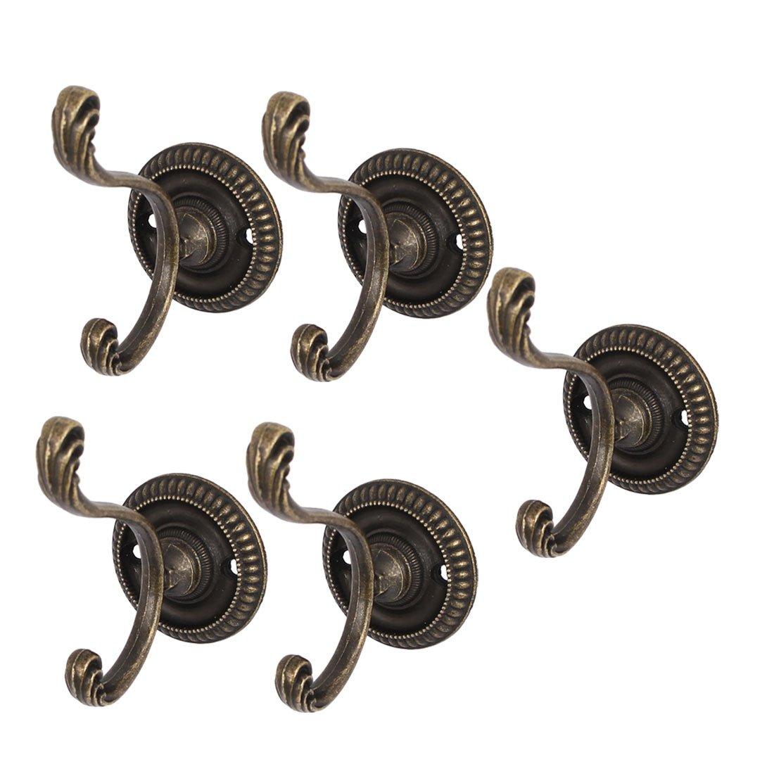 uxcell Bathroom Door Hat Coat Hooks Wall Hanger 5pcs w Screws